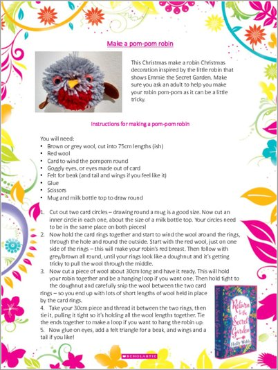 Make a pom-pom Robin - Free Downloadable