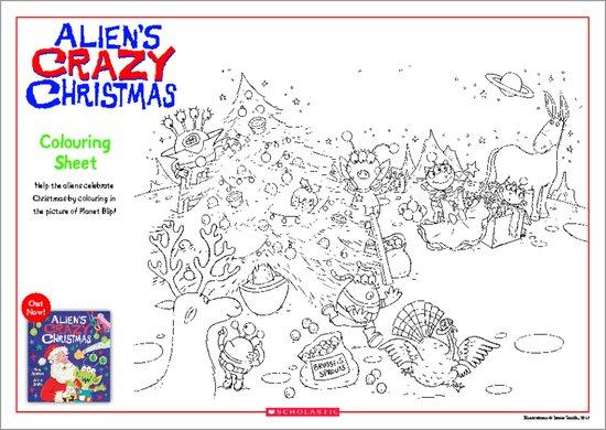 Alien's Crazy Christmas Colouring Sheet