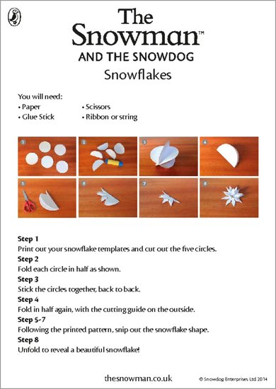 The Snowman and the Snowdog Snowflakes Activity