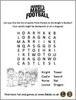 Frankie's Magic Football Wordsearch (1 page)