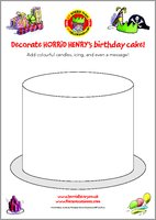 Horrid Henry Birthday Cake Colouring Activity