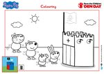 Peppa Pig Den Day colouring sheet (1 page)