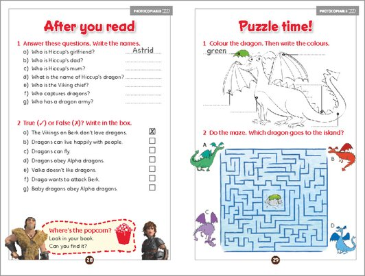 How to Train Your Dragon 2 - activity sample page