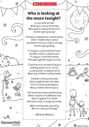 'Who is looking at the moon tonight' poem