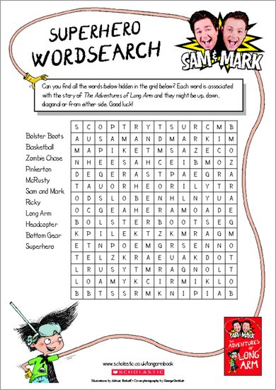 The Adventures of Long Arm - Superhero wordsearch