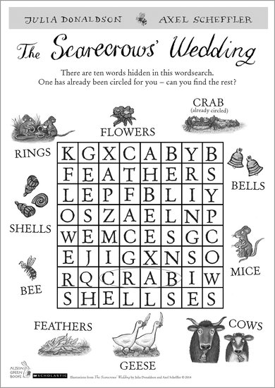 The Scarecrows' Wedding wordsearch