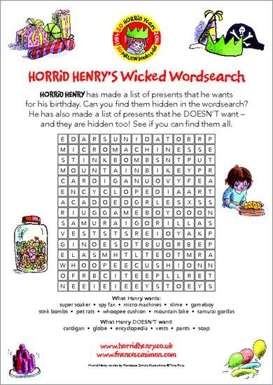 Horrid Henry's Wicked Wordsearch