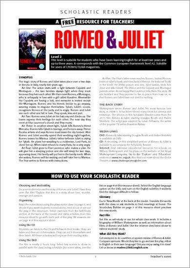 Romeo & Juliet - Resource Sheets & Answers