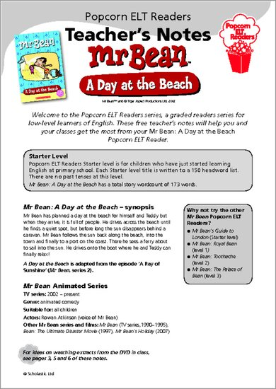 Mr Bean - A Day at the Beach - Resource Sheets and Answers