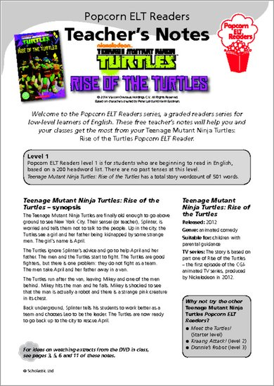 Teenage Mutant Ninja Turtles: Rise of the Turtles - Resource Sheet & Answers