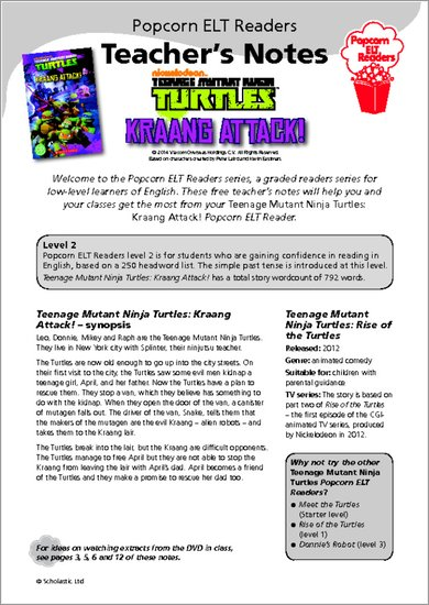 Teenage Mutant Ninja Turtles: Kraang Attack! Resource Sheet & Answers