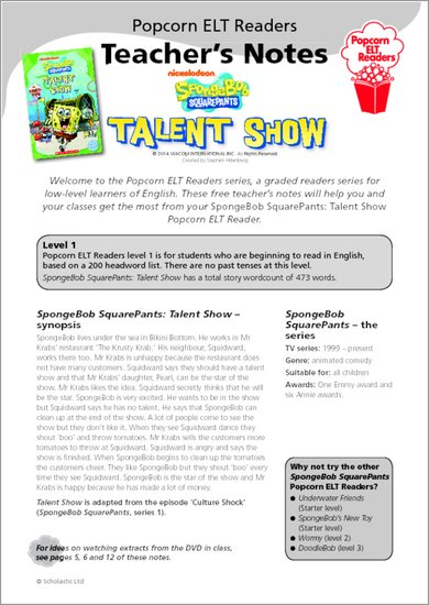 SpongeBob - Talent Show - Resource Sheets and Answers