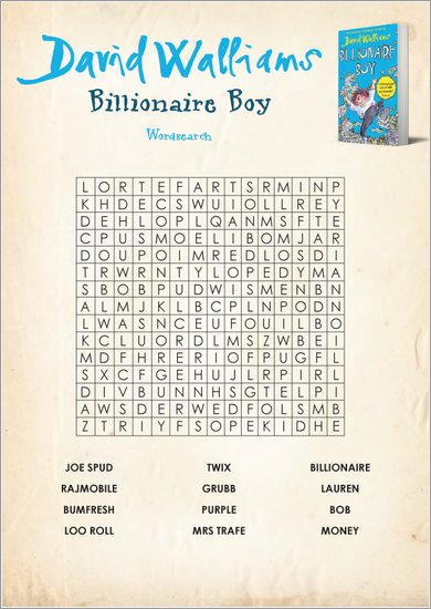 Billionaire Boy wordsearch