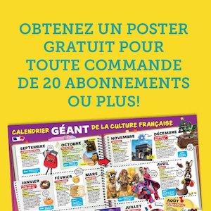 Obtenez votre poster GRATUIT pour toute commande de 20 abonnements ou + !