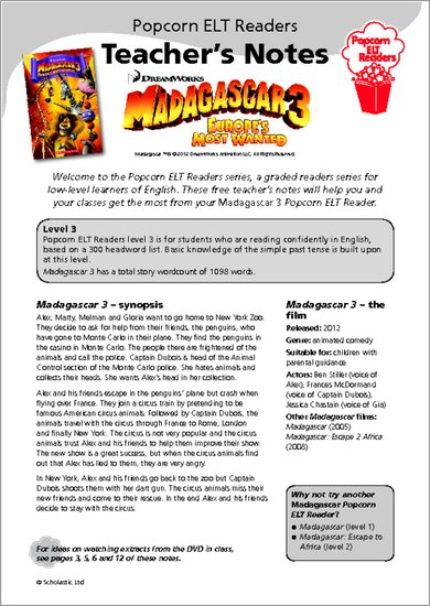 Madagascar 3 Teacher's notes