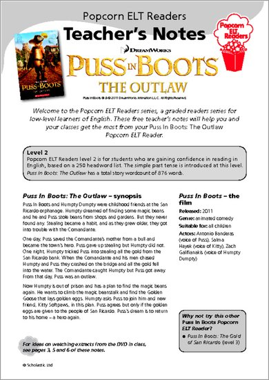 Puss-in-Boots The Outlaw: Teacher's Notes