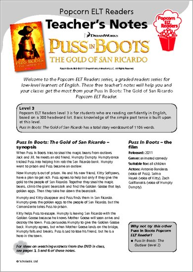 Puss-in-Boots and the Gold of San Ricardo: Teacher's Notes