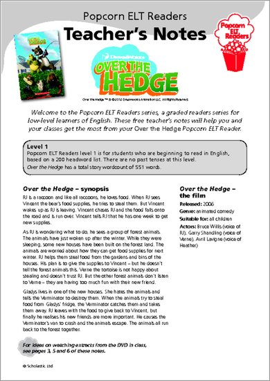 Over the Hedge - Teacher's Notes