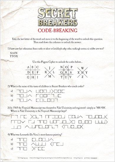 Secret Breakers Codes