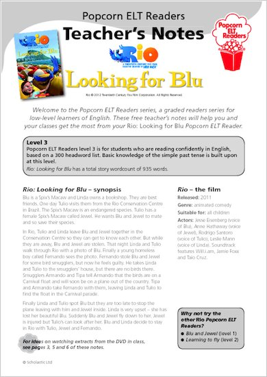 Rio: Looking for Blu - Teacher's Notes