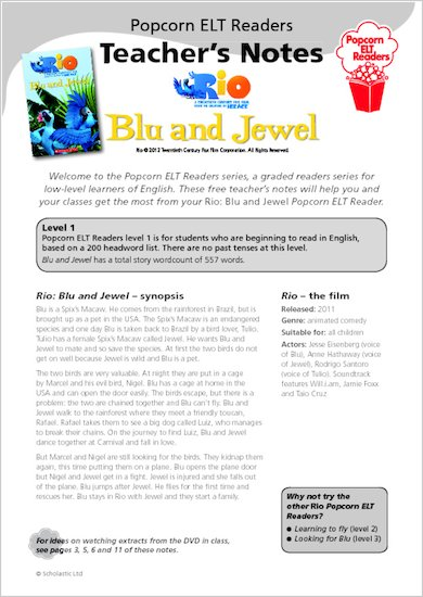 Rio: Blu and Jewel: Teacher's Notes