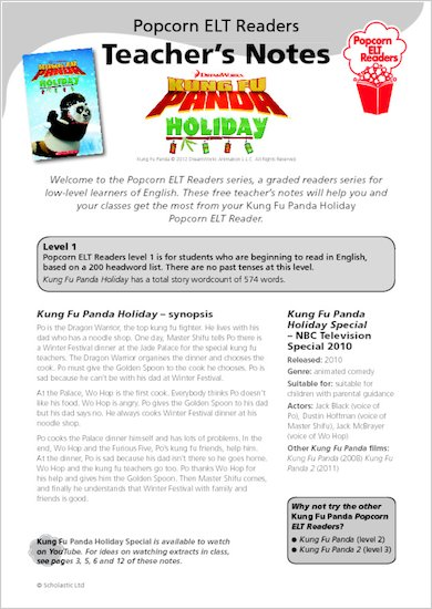 Kung Fu Panda Holiday: Teacher's Notes