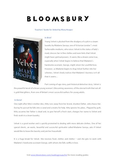 *Velvet* Teacher's Guide
