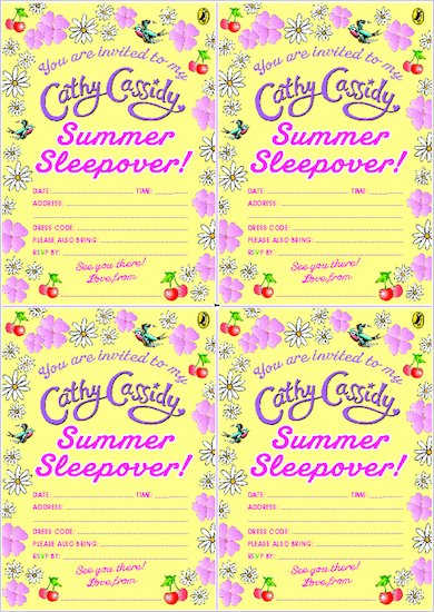 Cathy Cassidy Summer Sleepover Invites
