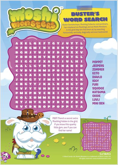Moshi Monsters Word Search