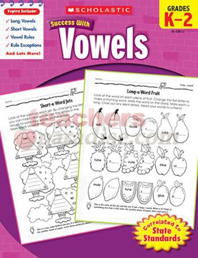 Scholastic Success with Vowels, Grade K-2