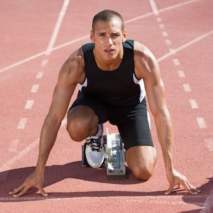 An athlete on the starting blocks