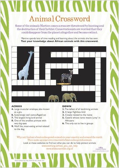 White Giraffe Crossword