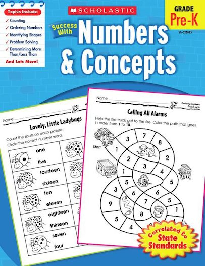 Scholastic Success with Numbers and Concepts, Grade Pre-K
