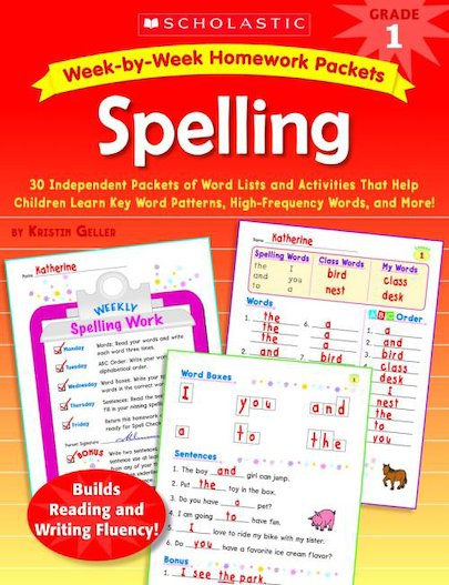 Week-by-Week Homework Packets: Spelling: Grade 1