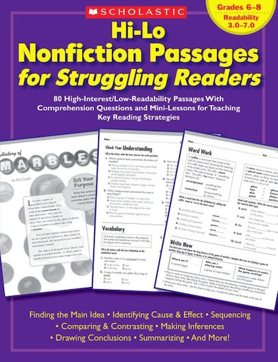 Hi-Lo Nonfiction Passages for Struggling Readers: Grades 6-8
