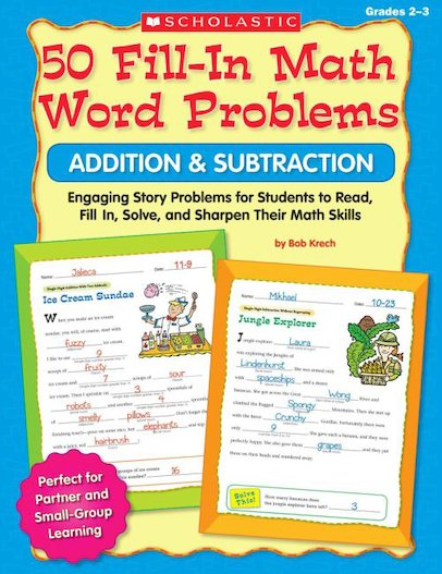 50 Fill-In Math Word Problems: Addition and Subtraction 2-3