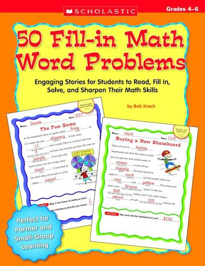 50 Fill-in Math Word Problems (Grades 4-6)