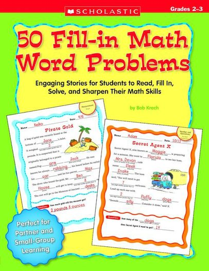 50 Fill-in Math Word Problems Grades 2-3