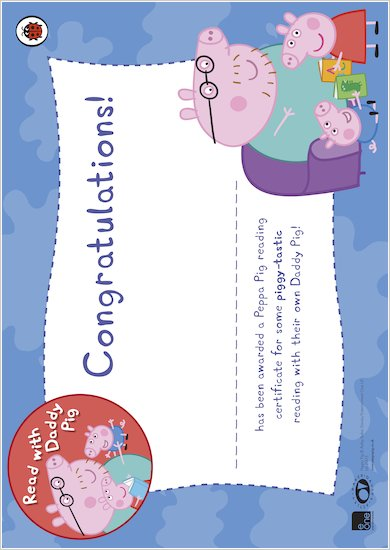 Read with Daddy Pig certificate