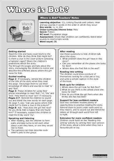 Where is Bob? - Teachers' Notes