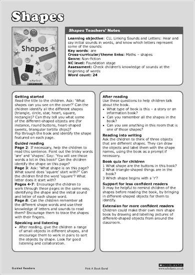 Shapes - Teachers' Notes