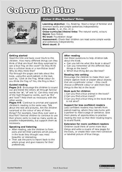 Colour It Blue - Teachers' Notes