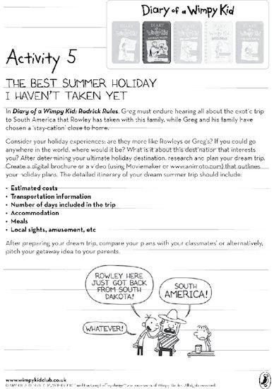 Wimpy Kid Summer Activity