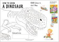 Colour a roaring T-Rex