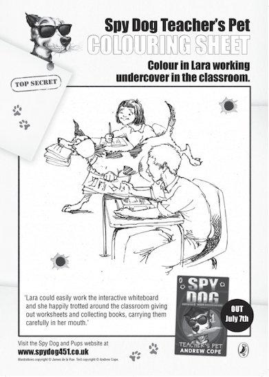 Spy Dog Colouring Sheets