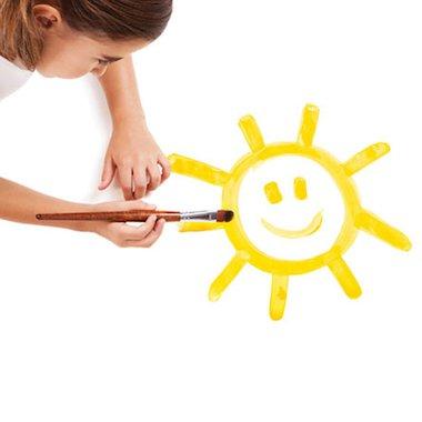 Girl painting sun