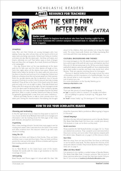 Spooky Skaters: The Skate Park After Dark - Resource Sheet & Answers