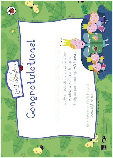Ben & Holly Reading Certificate