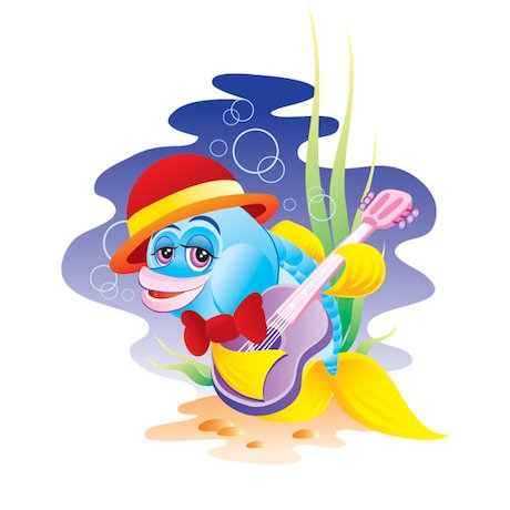 Fish playing the guitar