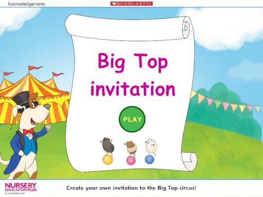 Big top invitation